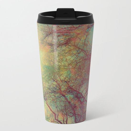 Tree Silhouette, Autumn Sunset Metal Travel Mug