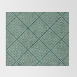 Stitched Diamond Geo Grid in Green Throw Blanket