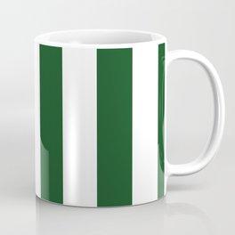 Jumbo Forest Green and White Rustic Vertical Cabana Stripes Coffee Mug