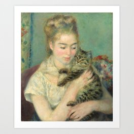 Woman with a Cat Oil Painting by Auguste Renoir Art Print