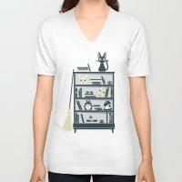 ghibli V-neck T-shirts featuring Ghibli Shelf // Miyazaki by Daniel Mackey