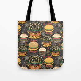 Graphic seamless pattern bright tasty burgers on a dark background Tote Bag