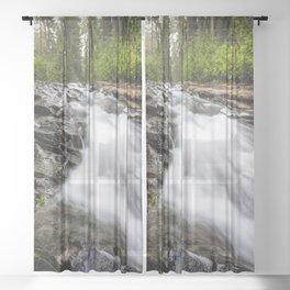Rush - Paradise River Rushes to Falls in Mt. Rainier National Park Sheer Curtain