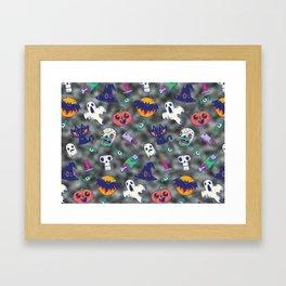 black glitter halloween pattern. Framed Art Print
