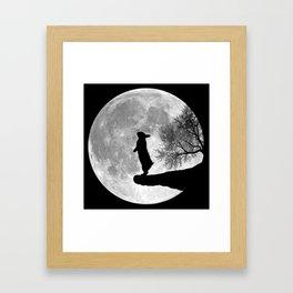 Moon Bunny - Black & White Framed Art Print
