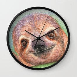 The Smiling Sloth Wall Clock