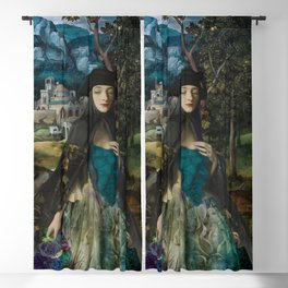 """""""Mystery woman in the forest among flowers"""" Blackout Curtain"""