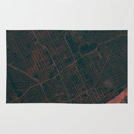 Detroit Map Red Rug