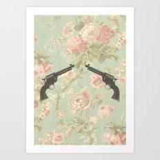 Guns & Flowers Art Print