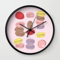 macaron Wall Clocks featuring Macaron Amour by alexistitch