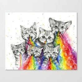 Kittens Puking Rainbows Canvas Print