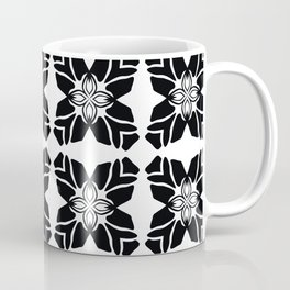Black on White Leaf Quilt Coffee Mug
