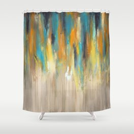 Navy and Gold Drips Shower Curtain