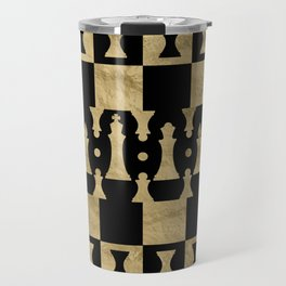 Chess Pieces Pattern - black and gold Travel Mug