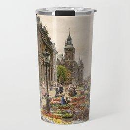 Parisian Flower Market on the River Seine by Girmin-Girard Travel Mug