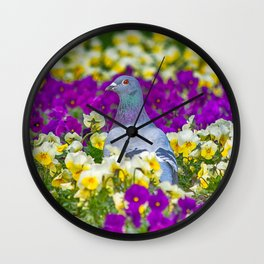 Pigeon and Pansies Wall Clock