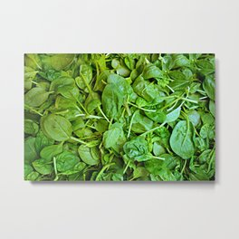 Fresh green spinach salad pattern Metal Print