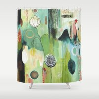 "flora bowley Shower Curtains featuring ""Fly Home"" Original Painting by Flora Bowley by Flora Bowley"