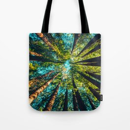Looking Up At Trees In A Dense Forest Tote Bag