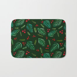 Christmas tree branches and berries - green Bath Mat