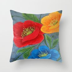 Poppies-3 Throw Pillow