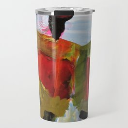 People Figure the World Abstract Art Contemporary Blue Red Green Black Sky Travel Mug