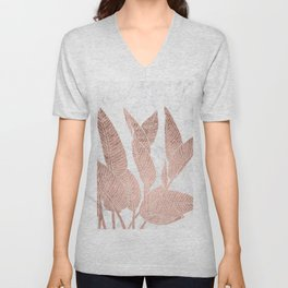 Modern faux Rose gold leaf tropical white marble illustration Unisex V-Neck