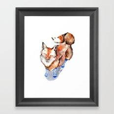 Smiling Red Fox in Blue Socks Framed Art Print
