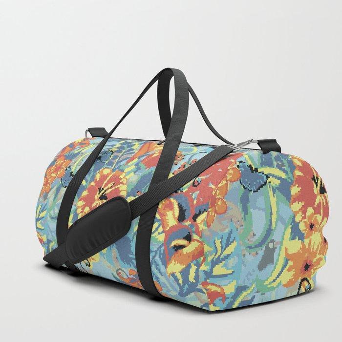 Flowers pixel art Duffle Bag