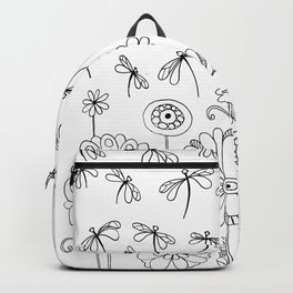 Flowers & Dragonflies BW Backpack