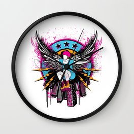 Roller Skater with Angel Wings Wall Clock