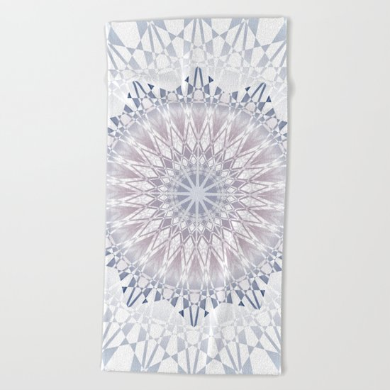 Blue  Taupe White Mandala Beach Towel