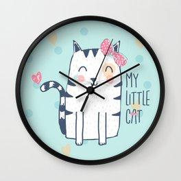 CAT ONE BLUE Wall Clock
