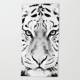 White Tiger Print Beach Towel