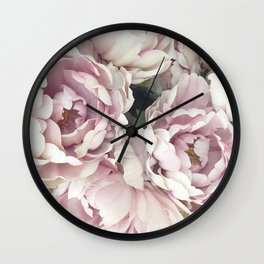 Roses, Pink Roses, Pastel Roses, Cottage Chic Roses Wall Clock