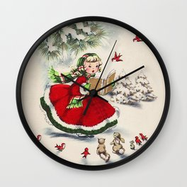 Vintage Christmas Girl Wall Clock