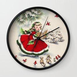 Vintage Christmas Girl Wall Clock