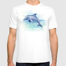 Dolphin Watercolor Sea Creature Animal MEDIUM Mens Fitted Tee White