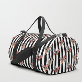 Creative , colorful butterfly of an black and white striped background . Duffle Bag