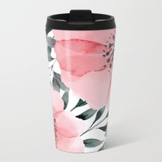 Big Watercolor Flowers Metal Travel Mug