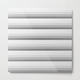 Gray Ombre Stripes Metal Print
