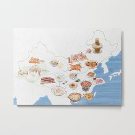 Watercolor Illustration of Chinese mutton cuisine on the map of China Metal Print
