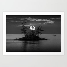 Acadia National Park Island in Black and White at Sunset Art Print