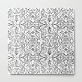 Techy doodles - symmetrical pattern - black and white tiles Metal Print
