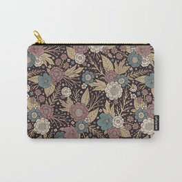 Mauve, Teal & Tan Floral Pattern Carry-All Pouch