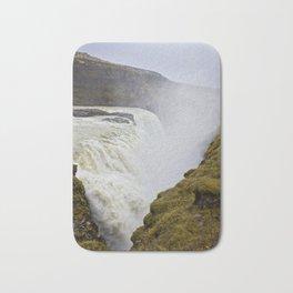 Mist Rising up from Gullfoss Waterfall in Iceland Bath Mat