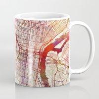 philadelphia Mugs featuring Philadelphia by MapMapMaps.Watercolors