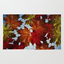 Fall Leaves On canvas Rug