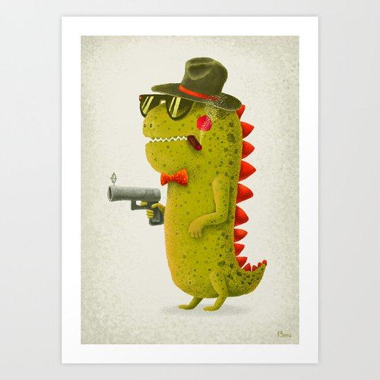 Dino bandito (olive) Art Print