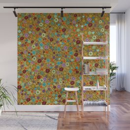 Playful Watercolor dots pattern - Gold Wall Mural